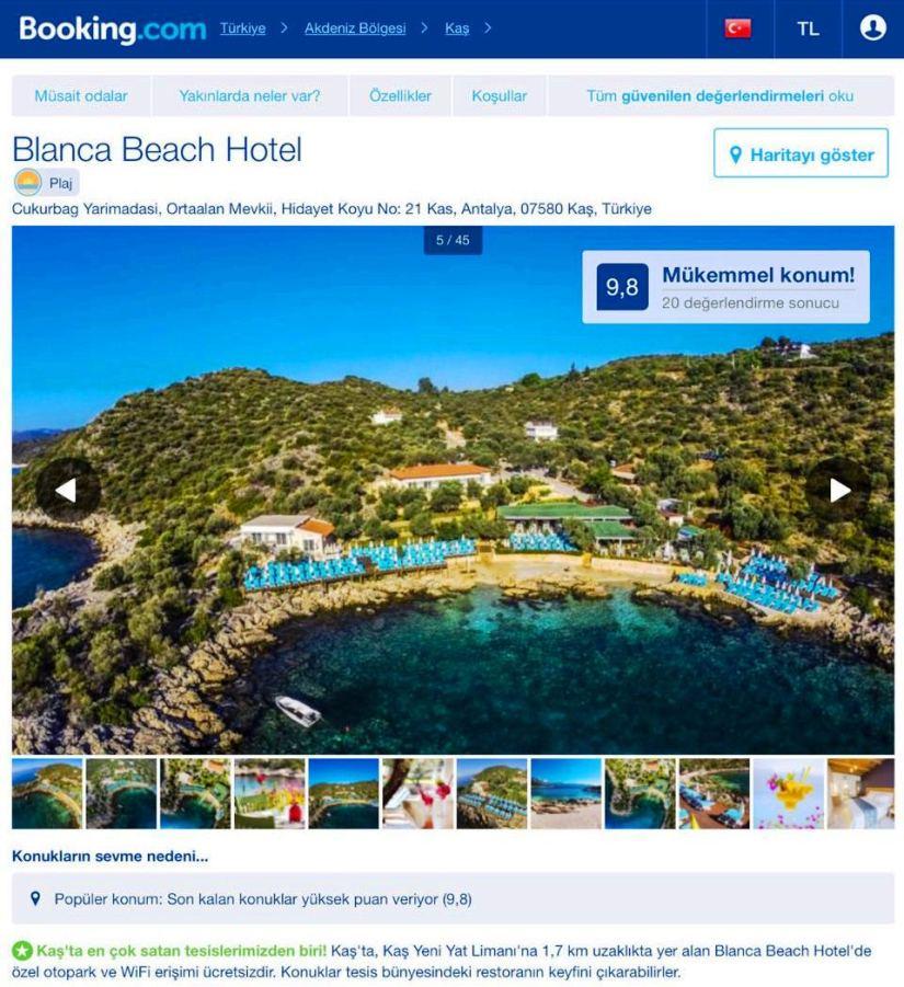 booking.com'da satışa sunulan otelin reklamı.JPG