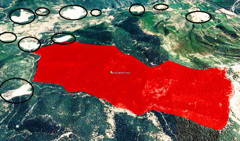 alacadağ tabiatı koruma alanı (kırmızı alan) ve mermer ocakları.png