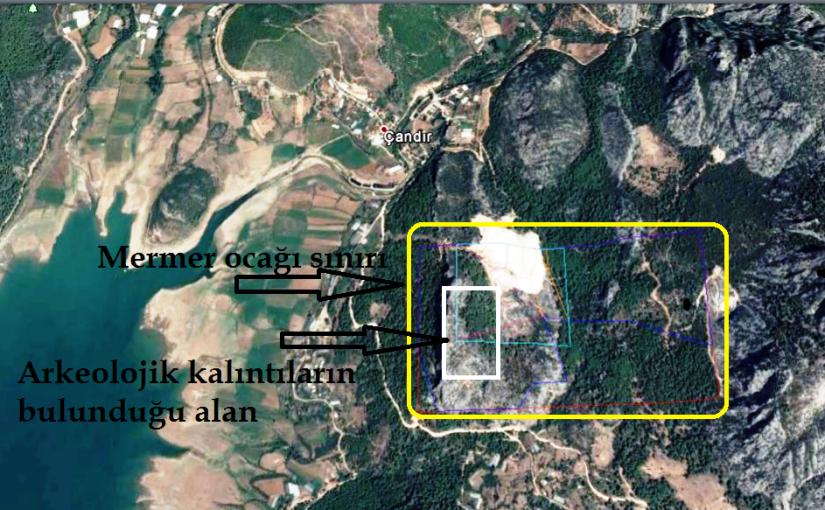 çandır köyündeki emrmer ocağının ruhsat sınırında tarihi kalıntılar bulunuyor.png