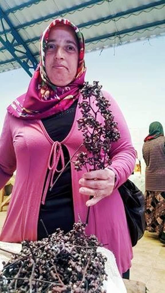 Ardeşen'de yaşayan Hatice Önder Şeker Ağacı dediği japon üzümünün meyvelerini satıyor.jpg