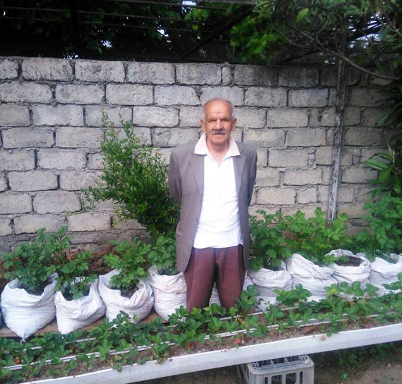 Feyzullah Bozacı, çuvalda yetiştirdiği sebzeleriyle.jpg