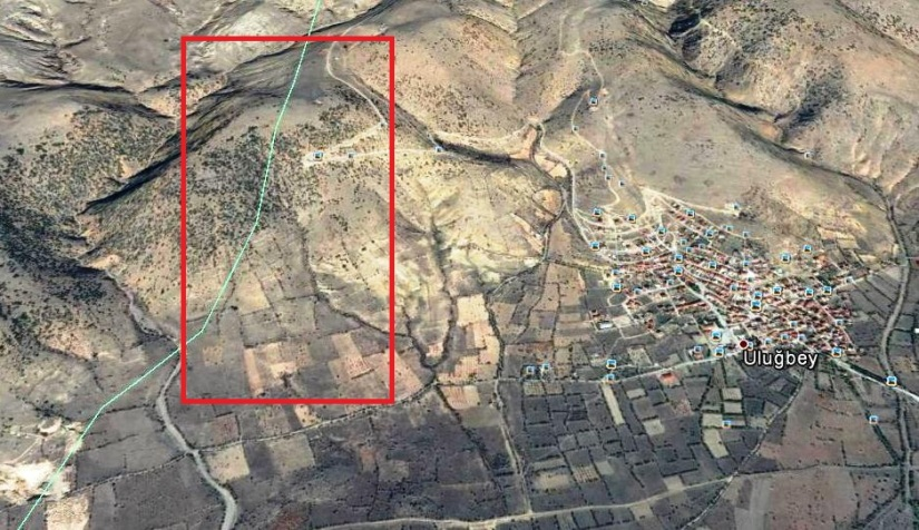 uluğbey köyünde açılmak istenen mermer ocağının bir kısmı orman bir kısmı ise tarım arazilerinden oluşuyor.jpg