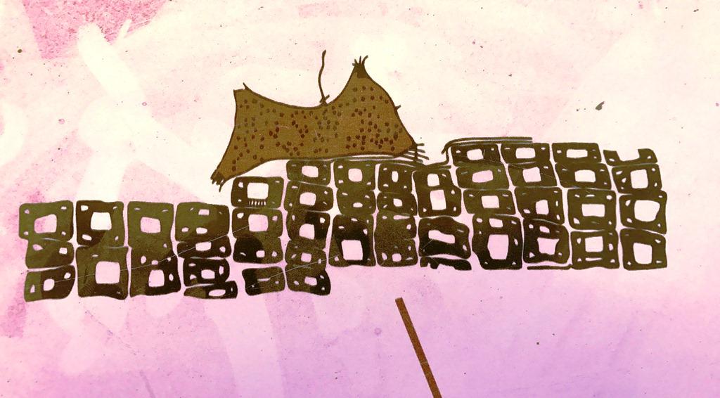 Çatalhöyük'te bulunan duvar resmi kent haritası hasan dağı'nın patlama anını yansıtıyor.JPG