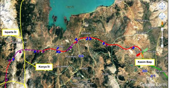 Antalya Isparta ve Konya sınırları boyunca devam eden hat.png