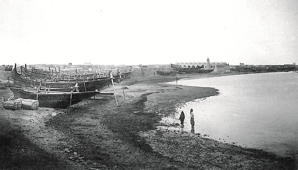 Doha 1904 tarihli fotoğrafta küçük bir balıkçı kasabası.jpg
