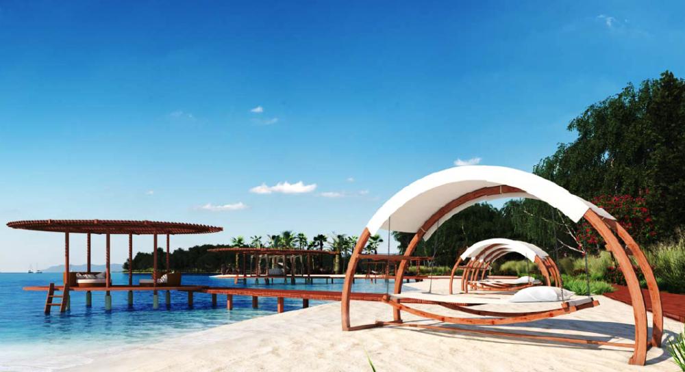Cumhurbaşkanlığı yazlık sarayı için püskürtme yoluyla birbirine bağlı üç hilal şeklinde özel plaj oluşturulacak.png