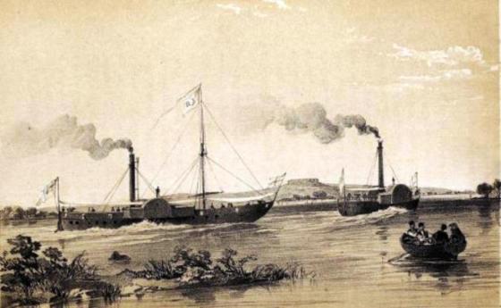 İngilizlerin yaptığı Fırat ve Dicle gemileri Birecik açıklarında Fırat nehrinde.jpg
